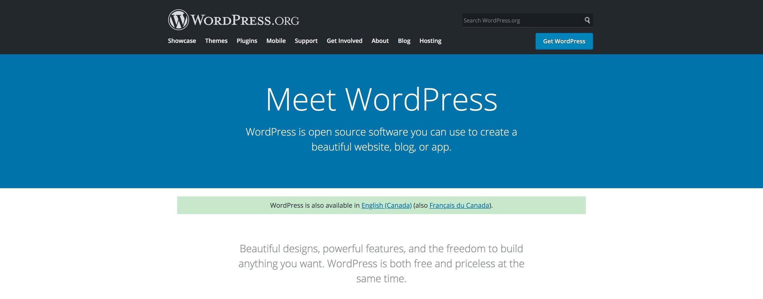wordpress.org welcome page