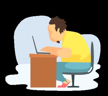 WordPress Developer typing on laptop