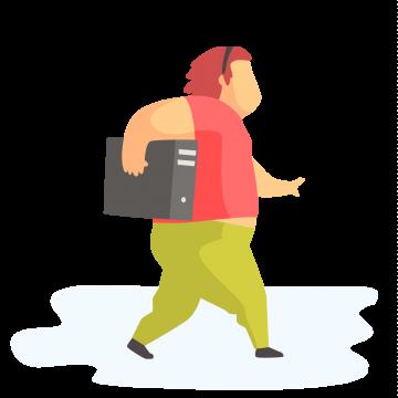 WordPress Developer walking with computer